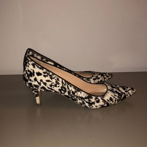 JCrew leather animal print kitten heel shoes